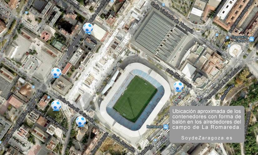 """Mapa de la ubicación aproximada de los """"balones gigantes"""""""