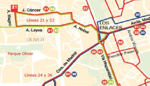Mapa de autobuses para llegar al Parque de Oriente de Zaragoza, en el barrio Oliver.