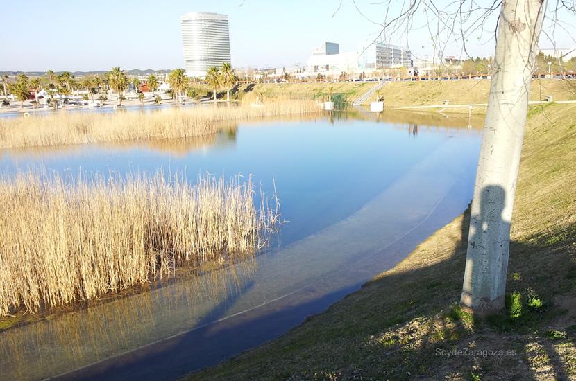 Los caminos que transcurren junto a los canales del parque estaban inundados.
