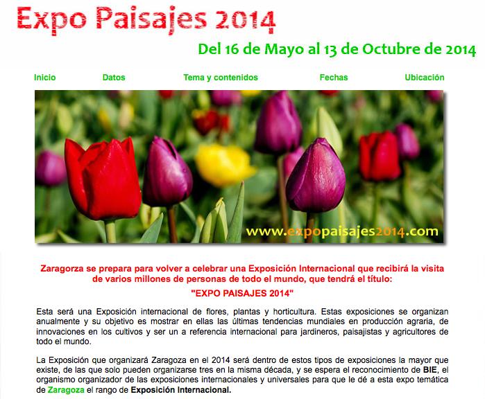 Captura de una página web donde se informaba de Expo Paisajes 2014