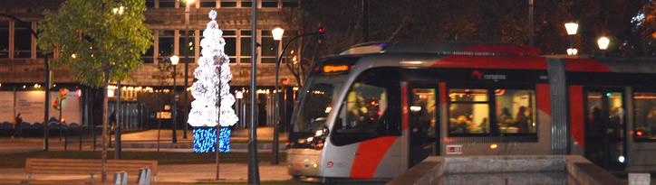 Información sobre los horarios, refuerzos y cortes del tranvía y los autobuses de Zaragoza durante la Navidad