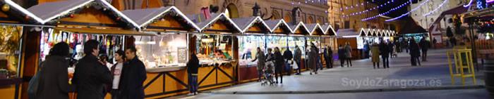 Los 55 puestos de la muestra navideña se sitúan en la Plaza del Pilar de Zaragoza