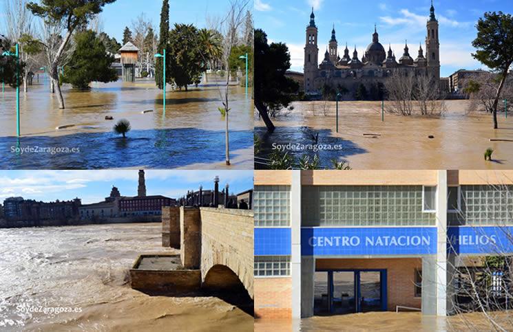 Inundaciones por la crecida del Ebro en la Arboleda de Macanaz y el el Club Deportivo Helios junto al río