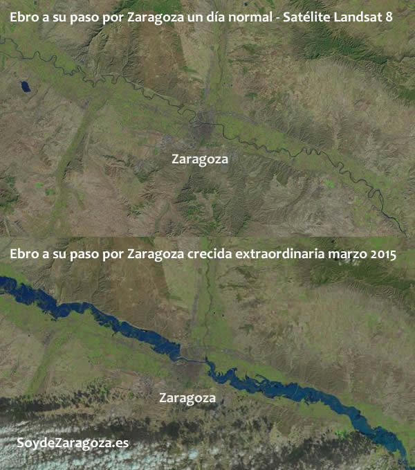 Imágenes del Landsat8 comparando un día normal con los días de la riada del Ebro.