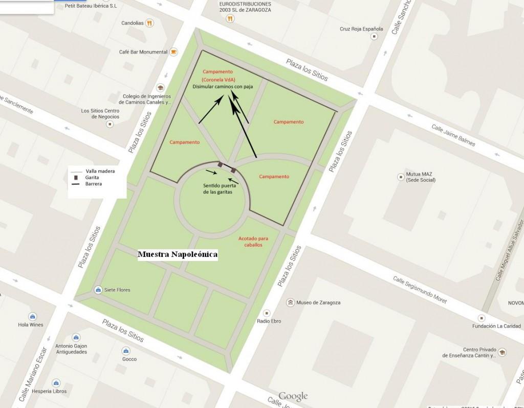 Plano de la Plaza de Los Sitios con la ubicación del mercado y el campamento militar de la Recreación de Los Sitios de Zaragoza