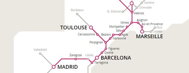 Trenes AVE de Zaragoza a Marsella
