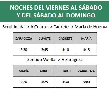 Búho Zaragoza-Cuarte-Cadrete-María de Huerva: horarios, tarifas y ...