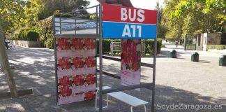 La obra del Festival Asalto 2016 junto a la entrada del Parque Delicias