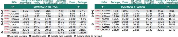 Horario autobús de Zuera a Zaragoza domingos y festivos