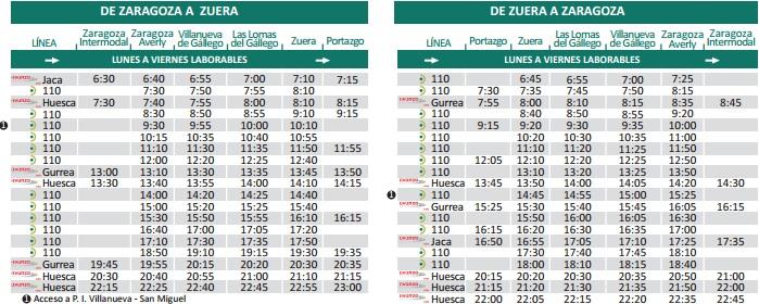 Horarios autobús a Zuera días laborales