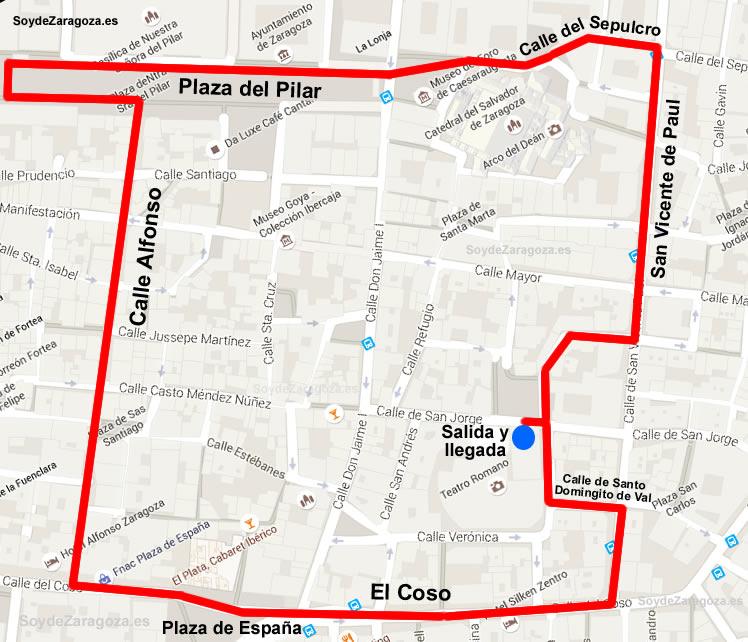 Recorrido del Rosario de Cristal en las Fiestas del Pilar.