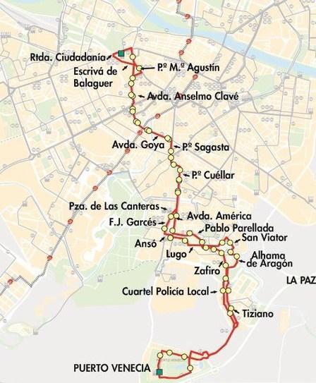 Línea 31 de autobús a Puerto Venecia. Mapa.