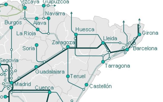 Líneas de tren que parten de Zaragoza