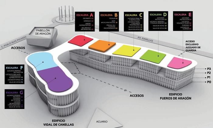 Plano de los edificios en la Ciudad de la Justicia.