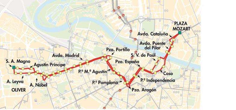 Plano del recorrido de la línea 21 de autobús de AUZSA.