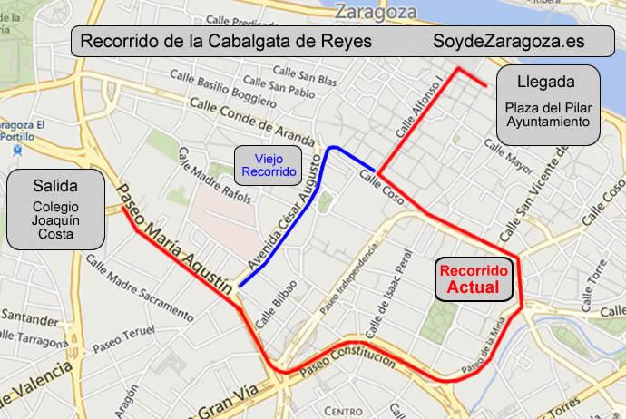 Mapa del recorrido de la Cabalgata de los Reyes Magos en Zaragoza