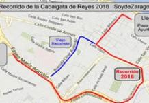 Plano del recorrido de la Cabalgata de los Reyes Magos 2016 en Zaragoza