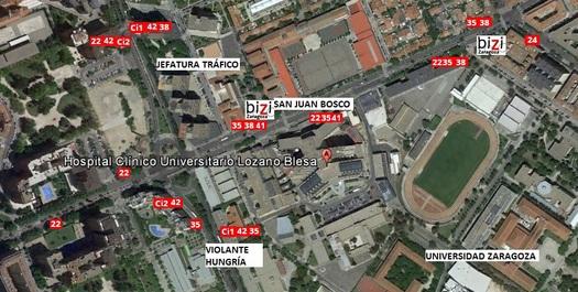 Plano de situación del Hospital Clínico de Zaragoza