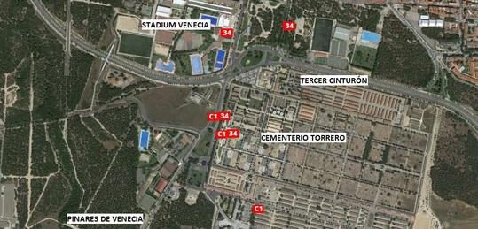 Plano de la situación del Cementerio de Zaragoza