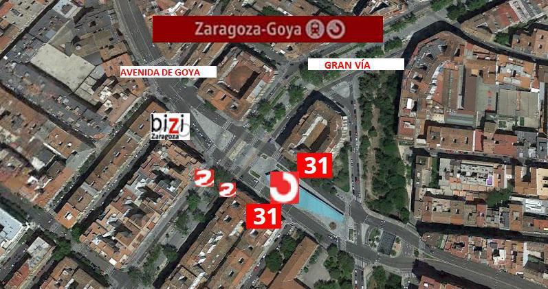 Situación y paradas del Intercambiador de Cercanías de Goya