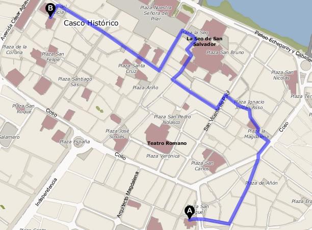 plano del camino que sigue la procesión del Nazareno