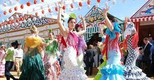Imagen de Sevillanas Bailando en la Feria de Abril