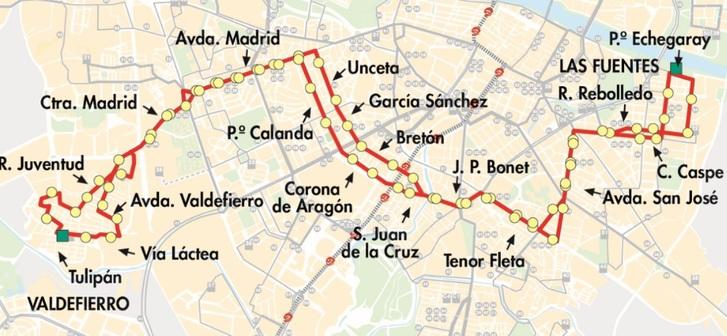 Plano del recorrido con paradas de la línea 24 de AUZSA Zaragoza