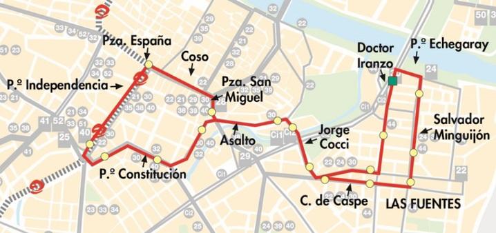 Línea 30 de Auzsa en Zaragoza, plano-mapa del recorrido