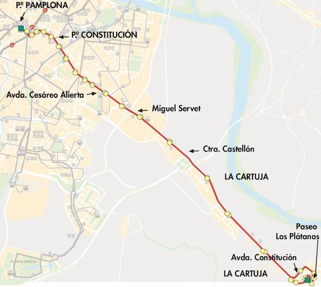Plano-mapa línea 25 a La Cartuja Zaragoza