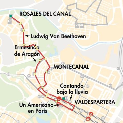 Mapa-plano de la línea 54 de Auzsa en ZaragozaMapa-plano de la línea 54 de Auzsa en Zaragoza