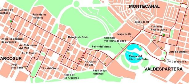 Plano-mapa de la línea 59 a Arcosur desde el tranvía de Zaragoza