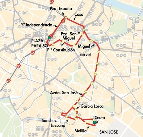 Mapa-plano de la línea 40 de autobús urbano de Zaragoza