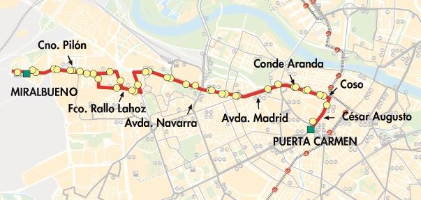 Plano-mapa de la línea 52 de AUZSA