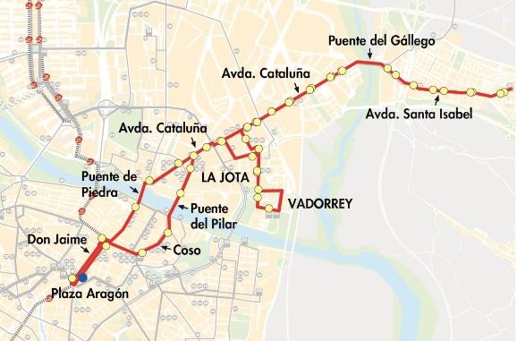 Plano-mapa de la línea N1 de búho de AUZSA en Zaragoza