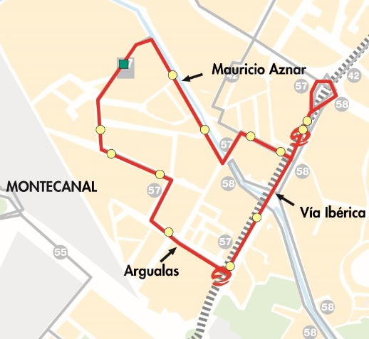 Plano-mapa del recorrido de la línea 57 de Auzsa en Casablanca