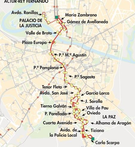 Línea 23 de AUZSA recorrido en Zaragoza capital. Plano-mapa