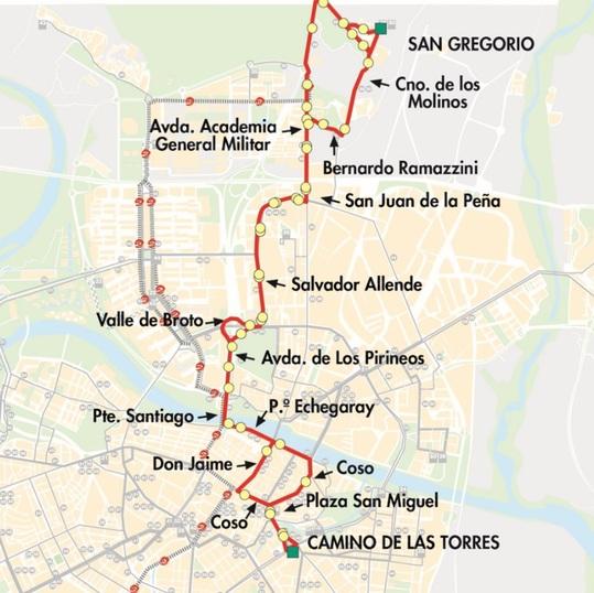 Plano-mapa de la línea 29 de Auzsa en Zaragoza
