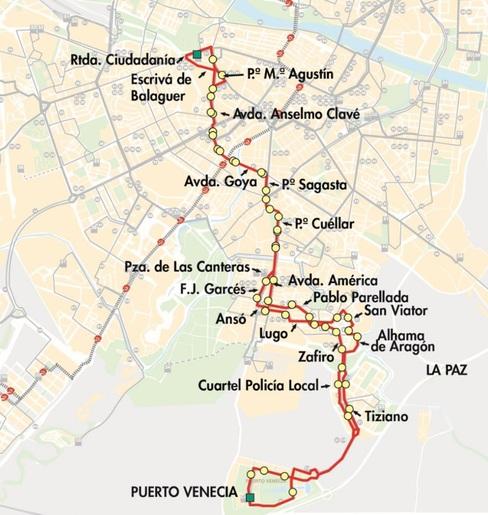 Mapa-plano de las línea 31 a Puerto Venecia y Aljafería en Zaragoza