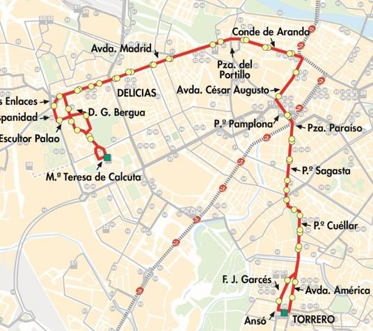 Línea 33 de AUZSA Zaragoza, plano-mapa del recorrido