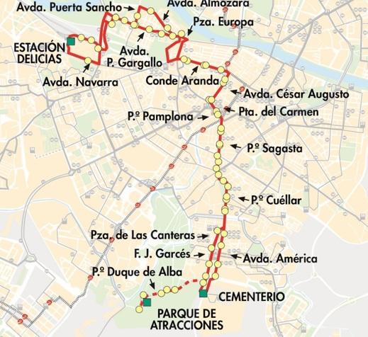 Línea 34 de Auzsa, plano-mapa del recorrido con paradas