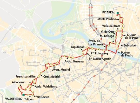 Mapa-plano línea 36 en Zaragoza