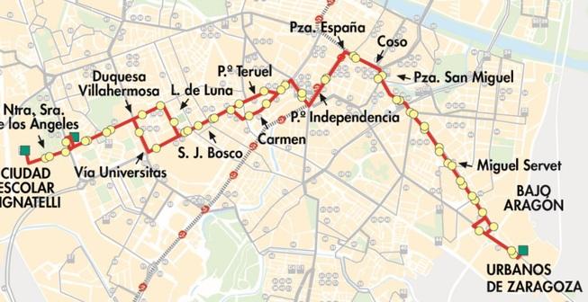 Línea 38 de Zaragoza de Auzsa: recorrido y paradas