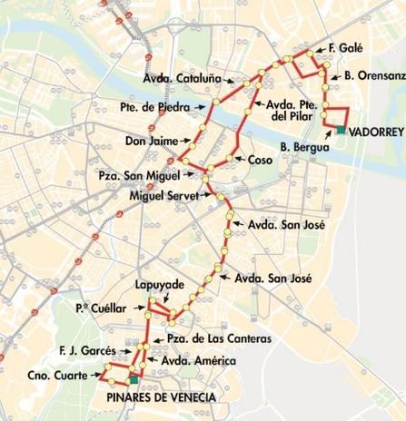 Línea 39 de AUZSA: paradas y recorrido de la línea 39 en Zaragoza