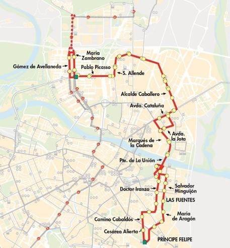 Recorrido y paradas de la línea 44 de AUZSA en Zaragoza