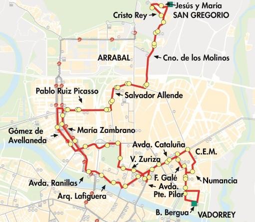 Línea 50 de AUZSA TUZSA en Zaragoza