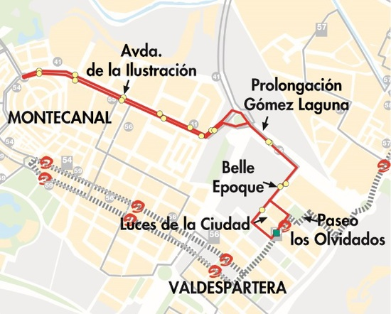 Mapa-plano de la línea 55 en Valdespartera y Montecanal, lanzadera al tranvía