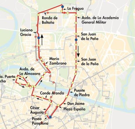 Plano-mapa de la línea N2 de autobús de Auzsa en Zaragoza