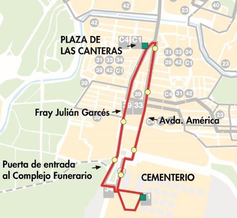 Línea C1 de Zaragoza, mapa-plano del recorrido