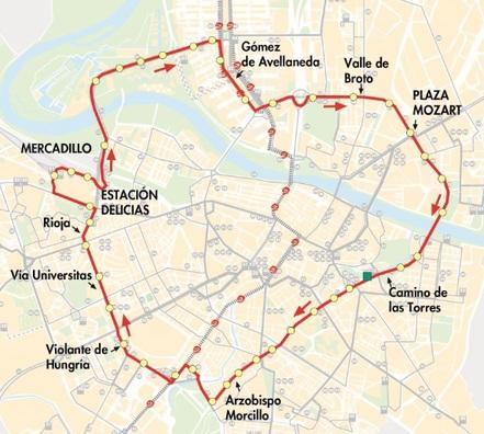 Plano-mapa del recorrido de la línea Circular 1 de autobús de Zaragoza tuzsa auzsa