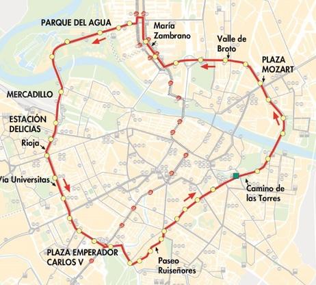 Línea Circular 2 de Zaragoza, mapa-recorrido de la línea
